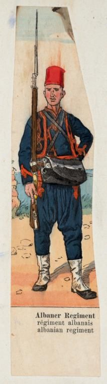 A soldier from the Albanian regiments.  Late-Ottoman, mid 19th century (after the reforms to modernize the army).