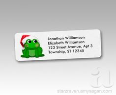 Pin It Thank you, Joyce in Pennsylvania, for your purchase of these Cute Santa Hat Frog Christmas Return Address Labels from Starzraven.