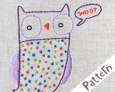 Penguin & Fish: New Owl Embroidery Pattern