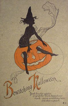 Bewitching Halloween - vintage card
