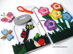 BUG JAR felt quiet book page for toddler boy by ASCreativeations                                                                                                                                                                                 More