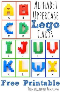 } from Wildflower Ramblings Alphabet Lego Cards – Uppercase {free printable!} from Wildflower Ramblings Lego Activities, Alphabet Activities, Preschool Alphabet, Learning Letters, Kids Learning, Learning Cards, Early Learning, Legos, Lego Letters