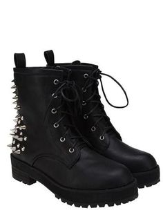 Rivets Punk Rock Style Black Boots
