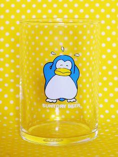 「パピプペンギンズ」のサントリー・ノベルティグラス 1983年ごろから登場した缶ビールのキャラクター。