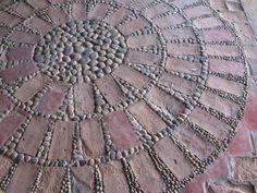 Pebble Mosaic & Bricks...love this. I have lots of old bricks and an endless supply of rocks.