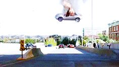 If only life were as easy to escape as a falling car.