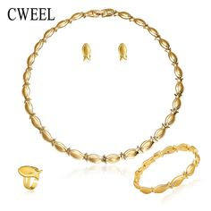 CWEEL Fashion Gold Color Jewelry Sets For Women Wedding Bridal Accessories Imitation Rhinestone Earrings Necklace Ring Bracelet