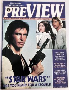 Awesome Star Wars art in print and publication Star Wars Clone Wars, Star Wars Art, Pamela Sue Martin, 1970s Tv Shows, David Soul, Harrison Ford, Star Wars Poster, Vintage Magazines, Great Movies