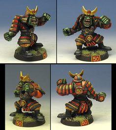 Samurai Orc, Blood Bowl Mini by James Wrappel.. custom Armor...