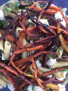 #roasted #carrots from the farmer's market make a great topping for #yotam #ottolenghi #summer #pasta dish