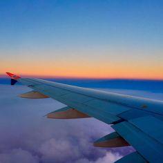 En route from Vagar Faroe Islands to Copenhagen. #atlanticairways #faroeislands #copenhagen #flying #airplane #air #colors #nofilter #vagar #horizon #sky #skyporn #wing #wings #aeroplane #iphonography #iphoneonly  #composition by gunnarholmj