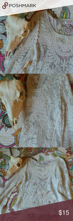 Lace Bell Sleeve Top Super cute but it has gotten too tight for my liking. Gently worn. Fabulous condition. Tops Blouses