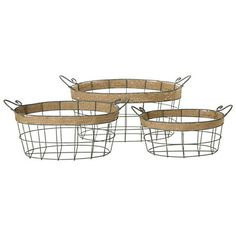 Twine wraps the upper edges of these antiqued wire baskets in three nested sizes. Together, they keep the kitchen or coatroom tidy and stack away easi