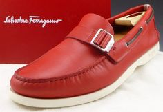FERRAGAMO sz 12 BAY LEATHER BOAT / DECK SHOE TV40082 MENS RED fits US 12 $350 #Ferragamo #LoafersSlipOns #distinctivedeals