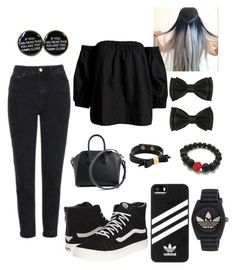 """Black #4 casual"" by yvette1118 on Polyvore featuring Topshop, Vans, Givenchy, adidas, Sans Souci and Kate Spade"
