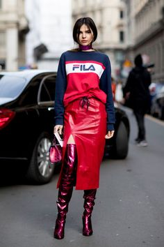 Fierce in Fila - The Street Style at Milan Fashion Week Was Seriously Chic - Photos