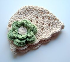 Girls Crochet Scalloped Baby Beanie Hat-Ecru and Sage Green-Great all year round, available in many colors-MADE TO ORDER via Etsy