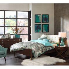 7PC:COSCOSMO(C)50 Ink+Ivy Cosmo Pecan 6-Piece Queen Mid-Century Modern Bedroom Set