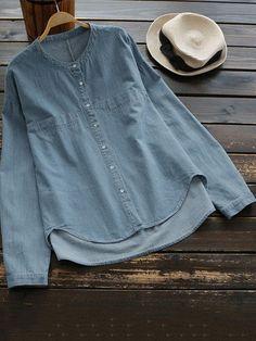 Plus Size 2018 Autumn Denim Shirts Button Jeans Long Sleeve Female Blouse Spring New Casual Tops Blue Large Size Blusas Ovresize. Plus Size Shirts, Plus Size Blouses, Plus Size Tops, Vintage Jeans, Plus Size Bohemian, Denim Blouse, Jeans Denim, Denim Top, Blue Blouse