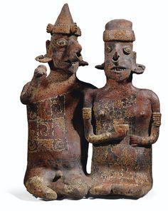 Couple anthropomorphe assis<u><u><u> </u></u></u><br>Culture Nayarit<br>Style de Ixtlán del Río, Mexique occidental<br>Protoclassique, 100 av. J.-C.-250 ap. J.-C.   lot   Sotheby's