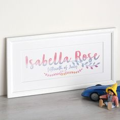 A gorgeous children's gift - handwritten type filled with subtle watercolour for a soft hand painted look. New Baby Presents, Handwritten Type, Childrens Gifts, Watercolor Paintings, Watercolour, Baby Boy Or Girl, All Print, Order Prints, Creative Business