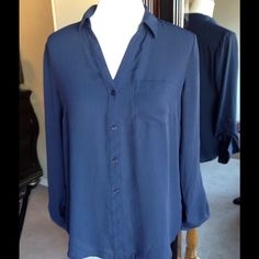 Navy Blue Sheer Blouse Button down roll cuff button sleeves. Sheer. 100% Polyester The Limited Tops Blouses