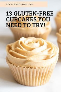 Love cupcakes Here are 13 of the best gluten free cupcake recipes So many flavors of cupcakes from Churro Caramel Lemon Chocolate Vanilla and more Buttercream frosting cream cheese frosting and icings Many are also dairy free Gluten Free Deserts, Gluten Free Sweets, Gluten Free Cooking, Dairy Free Recipes, Gluten Free Menu, Wheat Free Recipes, Best Gluten Free Cupcake Recipe, Dairy Free Cupcakes, Healthy Cupcake Recipes