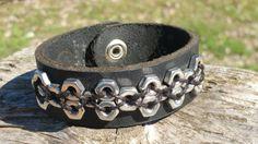 Leather Cuff Snap Bracelet in Black Harness by BluegrassNBourbon