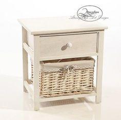 mobile cassettiera 2 cassetti legno bianco e vimini shabby chic