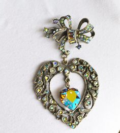 Victorian Heart Brooch Large Marcasite Art Deco by ESTATENOW, $172.50  Please follow me on Instagram for more deals