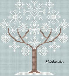 snowflake tree cross stitch chart
