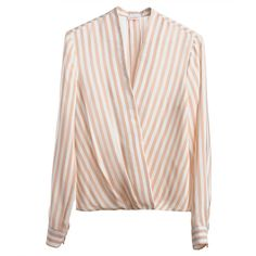 Silk Wrap Blouse (380 BGN) ❤ liked on Polyvore featuring tops, blouses, evening tops, silk top, v neck blouse, wrap top and pink top