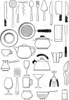 Tableware - kitchen utensils silhouettes, download royalty-free vector clipart (EPS)