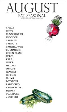 Seasonal Produce Guide for August - A Healthy Life For Me Vegan Nutrition, Proper Nutrition, Nutrition Guide, Nutrition Plans, Health And Nutrition, Nutrition Chart, Holistic Nutrition, Health Tips, In Season Produce