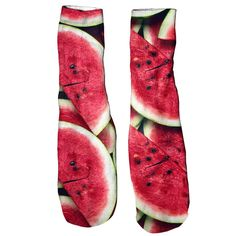 We're not sure what's better. the thought of a juicy slice of watermelon right now or the eye-popping red on these foot gloves. Soft and comfortable vibrant prints allover that are guaranteed to never fade or peel. Made of cotton. Colorful Fish, Watermelon, Vibrant, Gloves, Socks, Fresh, Eye, Prints, Cotton