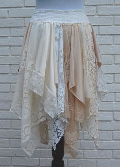XL Tattered Lace Fairy Woodland Skirt, White and Cream, Hippie, Boho, Gypsy, Funky, Upcycled Clothing