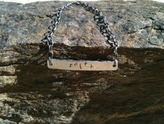 Hand Stamped Hammered Textured Silver Aluminum FAITH Bracelet by MetalsByMelissa, $12.00    https://www.etsy.com/listing/114016360/hand-stamped-hammered-textured-silver