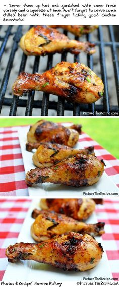 This recipe uses Bud Light Lime beer! - Grilled Beer Marinated Chicken Legs by PictureTheRecipe