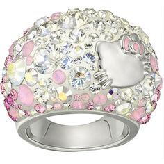 Pre-owned Swarovski Hello Kitty Ring ($482) ❤ liked on Polyvore featuring jewelry, rings, accessories, band jewelry, pre owned jewelry, swarovski jewelry, preowned jewelry and swarovski rings