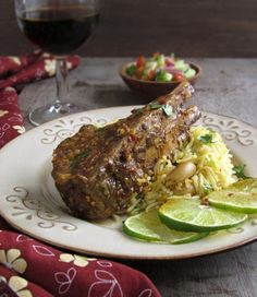 Indian Spiced Lamb Chops With Saffron & Nuts Rice