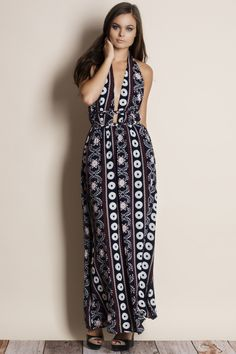 2fcb13082be Moonrise Printed Backless Maxi Dress