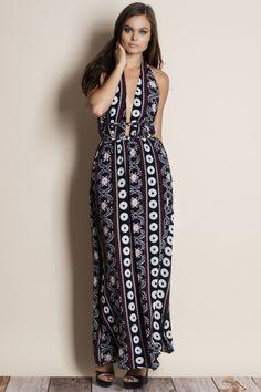 bbdf7c1e573 Moonrise Printed Backless Maxi Dress