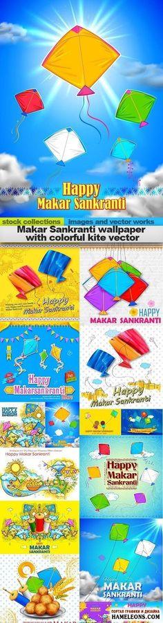К индуистскому празднику Макара Санкранти фоны с яркими бумажными змеями - векторный клипарт | Makar Sankranti wallpaper with colorful kite vector