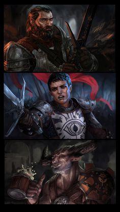 Dragon Age Inquisition Warriors - Blackwall, Cassandra, The Iron Bull by Ymirr