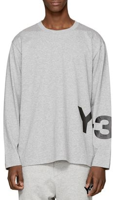 Y-3 Grey Long Sleeve Classic Logo T-Shirt   from SSENSE (men, style, fashion, clothing, shopping, recommendations, stylish, menswear, male, streetstyle, inspo, outfit, fall, winter, spring, summer, personal)