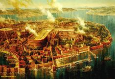 Papertowns is dedicated to well-crafted pictorial maps, detailed panoramic cityscapes, broad aerial vistas, intricate bird's-eye views, even full. Medieval World, Medieval Fantasy, Byzantine Architecture, Roman Architecture, Pictorial Maps, Classical Realism, Fantasy City, Early Middle Ages, Hagia Sophia