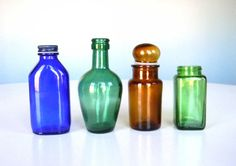 Vintage Bottles Apothecary Glass Jar Assorted Set by MustyMusts, $23.00
