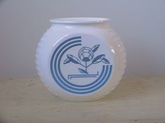 Anchor hocking Fire King Blue Circle Grease Jar no Lid by nddevens, $25.00