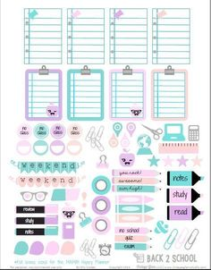 Free Printable Back to School Planner Stickers from Vintage Glam Studio Free back to school planner stickers printable for the Happy Planner by Mambi. For personal , non-commercial use only. To Do Planner, School Planner, Free Planner, Planner Pages, Happy Planner, Glam Planner, College Planner, Planner Ideas, 2015 Planner