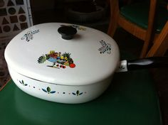 Midcentury enamel skillet with lid large 10 size by Mad4ModMalissa